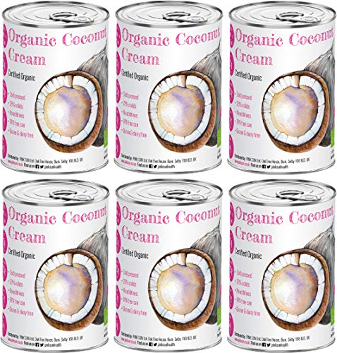 PINK SUN Organic Coconut Cream 400ml x 6 Single Tins for Cooking 22% Full Fat Milk Alternative BPA Free Can No Additives or Preservatives Gluten Free Dairy Free Lactose Free Vegetarian Vegan