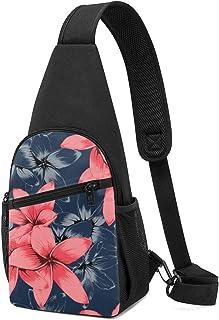 Bandolera de color rosa pastel Frangipani flores sobre fondo azul oscuro, ligera mochila para el pecho mochila bolsa cruza...