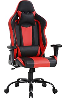 Big and Tall Office Chair 400lbs Gaming Chair Ergonomic Cheap Desk Chair Task PU Rolling Swivel Computer Chair with Lumbar Support Executive Chair(Red)