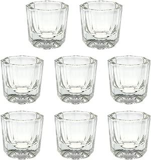 NYKKOLA 8 Pcs Nail Art Acrylic Liquid Powder Dappen Dish Glass Crystal Cup Glassware Tools