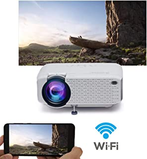 WiFi Projector, 2019 Newest Wireless Projector, Mini Projector Portable for Home Outdoors, USB Directly Connect for Smartp...