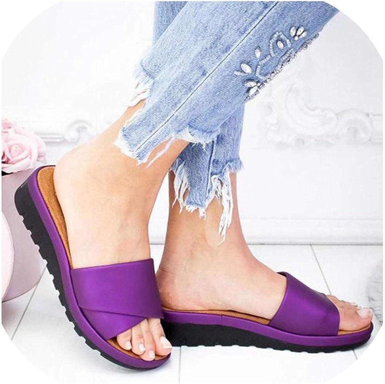 Women's Slippers Beach Casual shoes Retro Flat Slides Thick-Soled Cork Slipper Flip,