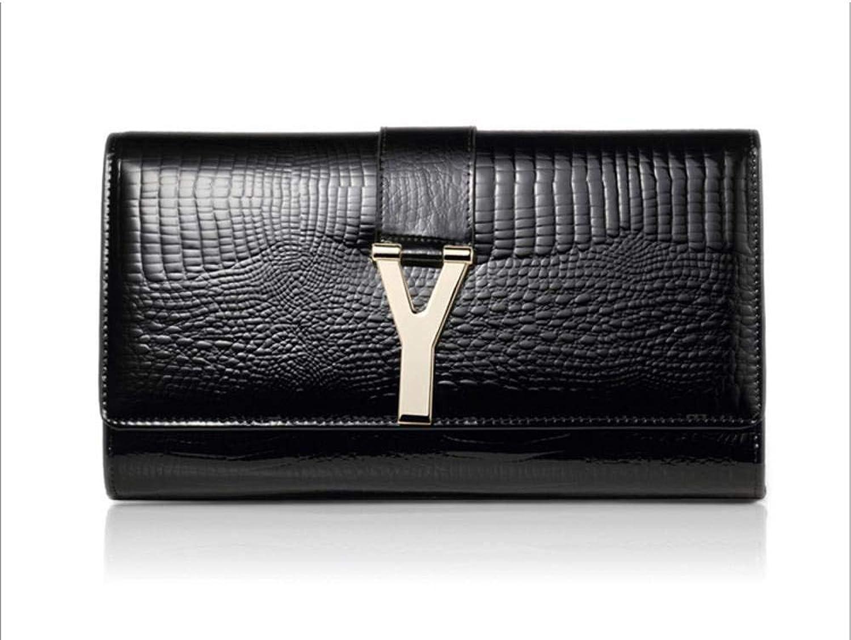 Olydmsky Damenbörse Frau Patent Schultertasche aus Leder Handtasche Geldbörse Geldbeutel Leder einzigen Messenger 16,5  4,5  28 cm B07H7BQR2R