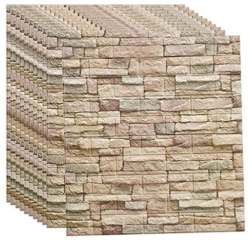 Paneles Pared Espuma Autoadhesiva 3D, Papel Tapiz Piedra Textura Imitación De 27.5 * 30 '', Para Decoración de Paredes Interiores Para Decoración Pared Dormitorio Sala de Estar A,10pcas