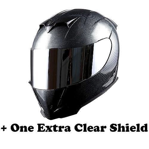 1STorm Motorcycle Full Face Helmet Skull King Carbon Fiber Black + One Extra Clear Shield,