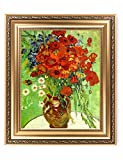 DECORARTS - Red Poppies and Daisies, Vincent Van Gogh Art Reproduction. Giclee Print& Framed Art for Wall Decor. Picture Size: 20x16, Framed Size: 26x22