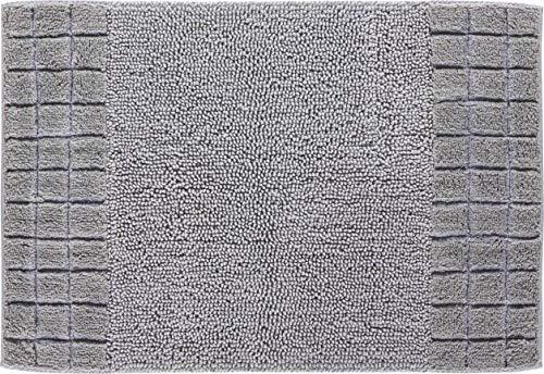 Linea Due Tapis de Bain Réversible, Ultra Doux, Absorbant et Antidérapant, Coton, 5 Ans de Garantie, Chess, Tapis de Bain 60x90 cm, Argent