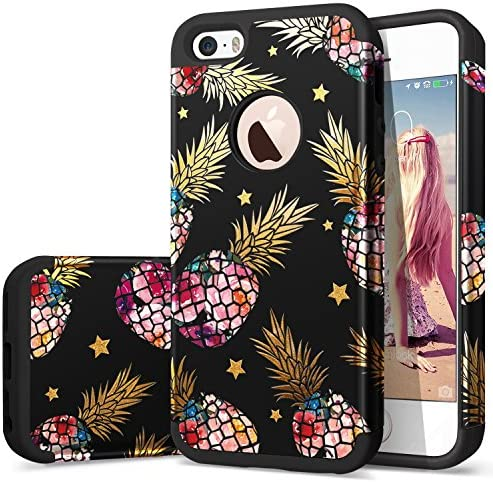 iPhone 5 Case iPhone 5S Case Black Fingic iPhone SE Pineapple Case Cute Pineapple for Girls product image