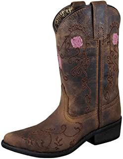 Smoky Mountain Children's Rosette Pull On Embroidered Floral Snip Toe Brown Oil Distress Boots 12.5M