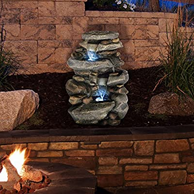 Garden Waterfall Fountain With LED Lights