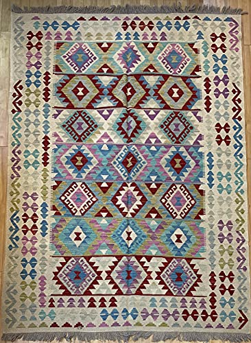 Alfombra oriental afgana hecha a mano Kilim de lana de colores naturales afganos turcos nómada persa tradicional persa 170 x 242 cm vintage corredor pasillo escalera reversible