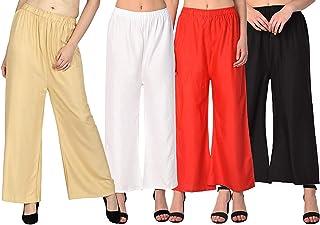 Kristy Fashion Jambo 5xl Rayon Palazzo Pants for Women's Soft & Stretchable Combo of 4 (Size:5xl)