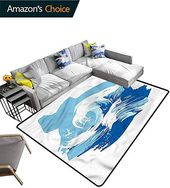 TableCoversHome Ocean Bordered Area Rugs Sealife Beach Surfing Hobby Pattern Printing Carpet Durable Carpet Area Rug Living Dinning Room Bedroom Rugs And Carpets 5 X 8