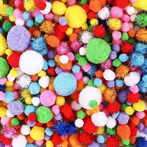 BAKHK 1000 Stücke Bunt Mini Pompons, 1-3cm Pompom Bälle Kleine Bommeln, Bunte Plüschbälle für Lustige DIY Kreative Handwerk