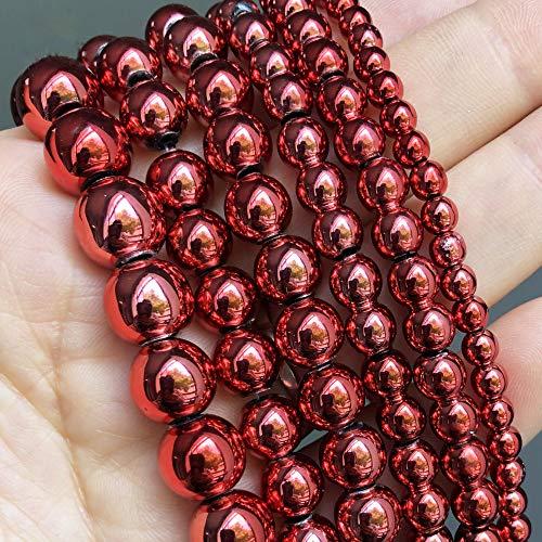 Cuentas de Piedra Natural de hematita chapada en Rojo, Cuentas Redondas Sueltas para joyería, fabricación de Bricolaje, Accesorios para dijes de Pulsera, 15 Pulgadas, 3 4 6 8 10 Mm 6mm (Approx 61pcs)
