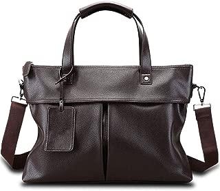 Zyyqt Business Bag, Laptop Bag Men's Business Casual Handbag Shoulder Diagonal Large-Capacity Official Leather Bag