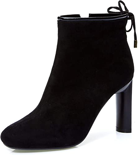 AJUNR Transpirable zapatos de mujer Simple Arco con Alto 10 cm Lazada Commuter Cabeza rojoonda Duro talón Cierre de Cremallera Martin botas botas Cortas
