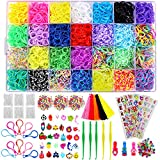 12,000+ Rainbow Rubber Bands Bracelet Making Kit, 11,800 Premium Loom Bands, 600 S-Clips, 300 Beads, 30 Charms, 52 ABC Beads, 10 Backpack Hooks, 5 Tassels, 4 Stickers to Make Bracelet for Kids Girls