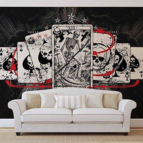 Karten Schädel Tarot - Forwall - Fototapete - Tapete - Fotomural - Mural Wandbild - (1351WM) - PANORAMIC - 250cm x 104cm - VLIES (EasyInstall) - 1 Piece