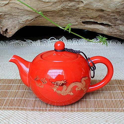 GBCJ juego de té Tetera de esmalte agrietada, tetera de cerámica, tetera de arena morada, grieta de hielo de Taiwan, tetera, juego de té de kung fu, Pote del dragón rojo 13