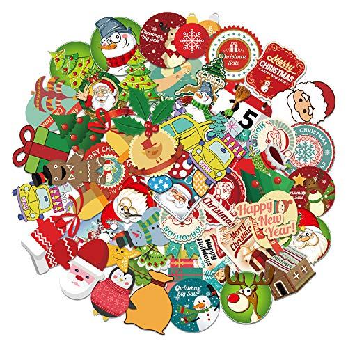 Balhvit Christmas Stickers for Water Bottles & Laptop, [100 Pcs] [Waterproof & Ultra Sticky], Xmas Stickers Decal for Teens, Kids, Toddles, Girls, Adults, Holiday Decorations, Hydroflasks, Presents