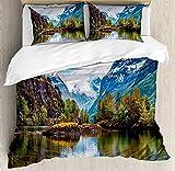 HUA JIE Bedding Set Juego Juego Funda Nórdica Nature, Cordillera Noruega con Picos Nevados Junto Al Lago Pesca Paisaje Nórdico l Norte