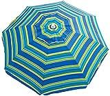 Rio Brands Beach 6' UPF 50+ Beach Umbrella with Built-in Sand Anchor - Tropical Fusion Wide Stripe
