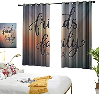 "Superlucky Blackout Draperies for Bedroom,Family,63"" x 63"",Friends are Famly We Choose Inspirational Phrase Fashion Print BFF Theme,Suitable for Bedroom Living Room Study, etc."