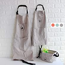 YOLOPLUS+ 2 Pack Cartoon Cotton Apron Cute Bear Parent and Child Apron,Father Mother Son Daughter Matching Set Adult and Kid for Cooking,Baking,Painting,Coffee Shop.Party (Gray)