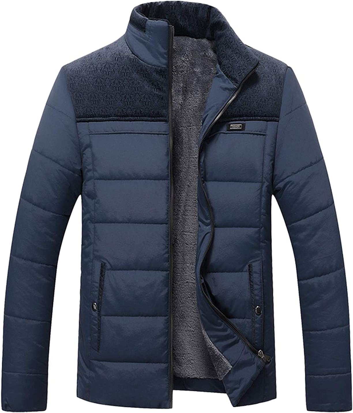 Lentta Men's Business Casual Zip Up Down Cotton Padded Jacket Coat Windbreaker
