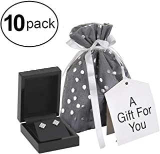 Small Premium Fabric Gift Bags (Pack of 10) Organza with Lining and Satin Ribbon Holiday Christmas – Grey Polka Dot – 6
