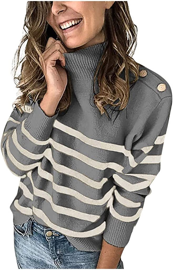 NREALY Women Stripes Button High-Necked Long Sleeves Top