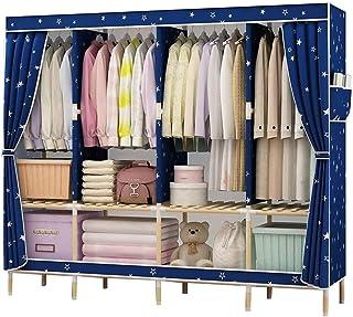 Liuyu Armoire en tissu épais simple et simple en bois massif pour la maison, la chambre à coucher, le dortoir épais et rés...