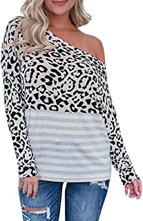 Holzkary Women's Fashion Skew Neck Leopard Print Pullover Lightweight Stripe Patchwork Long Sleeve Sweatshirt Tops