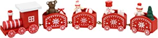 InDrah Cute Wooden Mini Train Ornaments, Xmas Train with Snowman for Kids Gift Christmas Party Favor Kindergarten Home Dec...