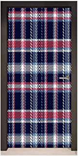 Homesonne Checkered Door Wallpaper Retro Plaid Pattern Geometrical Pixelated Seem Mosaic Design for Bedroom Decoration Indigo Dark Coral Light Blue,W30xH80