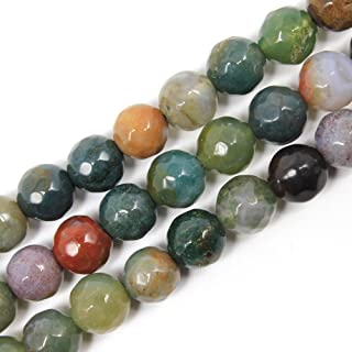 JARTC Round Faceted Indian Agate Beads Natural Stone Beads Loose Beads For Bracelet Making For Jewelry Making Strand 15