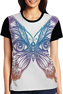 Women's T Shirts,Spiritual Madam Butterfly Wings with Human Eyes Retro Tattoo Freedom Theme Nature