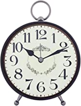 Konigswerk Vintage Retro Old Fashioned Decorative Quiet Non-Ticking, Quartz Analog Large Numerals Desk Clock, Battery Operated, Loud Alarm (AC122G) (Black)