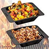 Char-Broil (2 Pack) Nonstick Vegetable Grill Basket Set With Holes BBQ Outdoor Grill and Stovetop Grill Pan