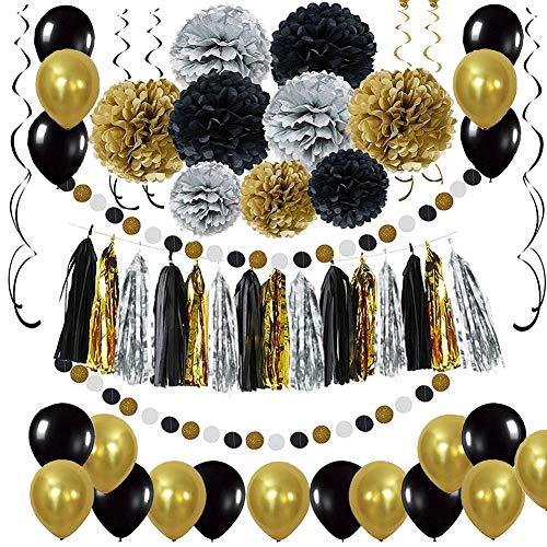 RunLimL Schwarz Gold Party Deko Set - DIY Pompoms Blumen, Quaste Girlande, Luftballons, Polka Dot Papier Girlande, Spiral Girlanden, für Abschlussfeier und Ruhestandsfeierdekor