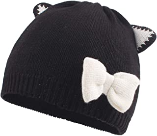 Baby Toddler Knit Hat Beanie Soft Warm Infant Girl Caps Cotton Lined with Bowknot or Ears