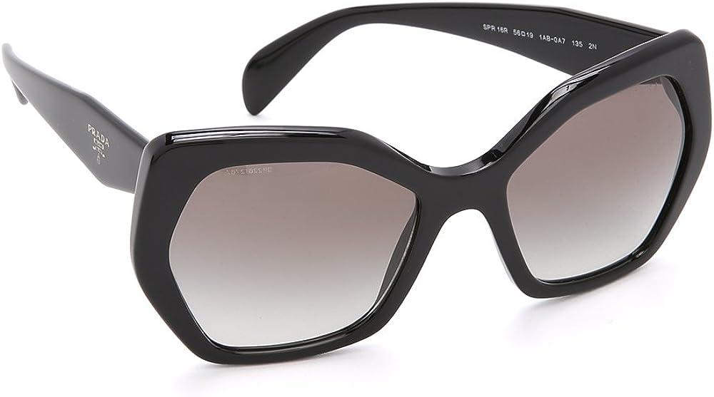 Occhiali da sole prada per donna, montatura in acetato nera,lenti di colore sfumatura grigia 16RSA