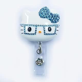 LOVEKITTY - 3D Hello Cutie Light Blue Nerd Kitty Inspired Rhinestone Badge Reel/Name Badges/ID Badge Holder