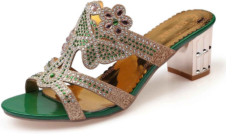 Genepeg Womens Sandals Summer Flower Rhinestone Cut-Outs High Heel Party Dress shoes