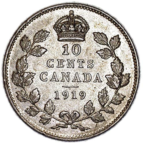 1919 CA George V Canadian KM# 22 Silver 10 Cent Very Fine