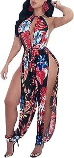 Womens Sexy Halter Floral Print Hollow Out Bodycon Elastic Waist Belt Split Long Pants Jumpsuits Rompers
