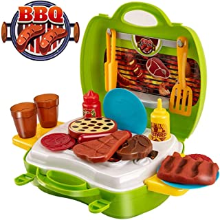UNIH Pretend Play Kitchen Toddler Toys Food Cooking BBQ Suitcase for Kids Birthday Gift