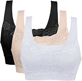 Vertvie Womens Strech Ohne Buegel Push up Yoga Sports BH Bra Top Set Fuer Fitnesstraining Polsterung 3er Pack