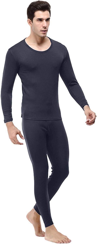 Men's Thermal Underwear Set, Microfiber Soft Circular Collar Winter Warm Base Layer Top & Bottom